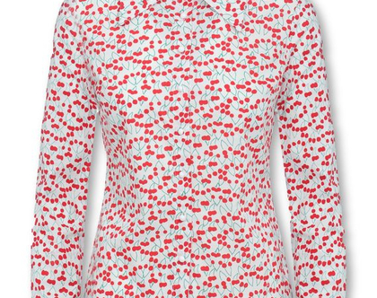 חולצה לבנה מכופתרת עם הדפס דובדבנים ושרוולים ארוכים (אמנדה)
