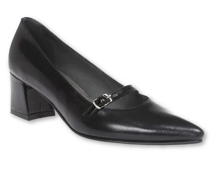 נעלי עקב מרובע בצבע שחור ורצועה שחורה (נעלי אריאל)