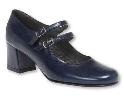 נעלי עקב מרובע בצבע כחול כהה ושתי רצועות כחולות (נעלי מרי פופינס)