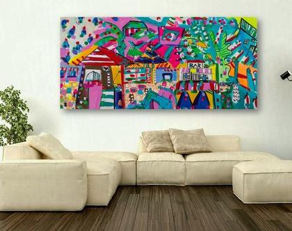 ציור נאיבי של ענבר רייך, תמונה צבעונית לבית ,ציור גדול לסלון, ענבר רייך ציירת, אומנות ישראלית מקורית, הדפס בטכניקה משולבת, ציורים מקוריים .