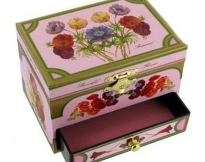 תיבת נגינה ואחסון פרחים ופיה עם פיה מסתובבת עשויה עץ | מתנה משמחת | מתנה לילד | מתנה לילדה