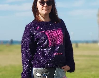 סוודר מעוצב\ סוודר סגול \ סוודר נשים