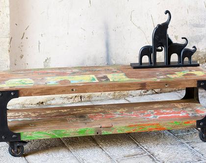 מזנון עץ ומתכת עם גלגלים ***משלוח חינם***
