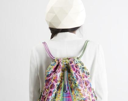 תיק גב צבעוני לנשים, תיק ייחודי מדמוי עור איכותי, תיק ללא עור, צמחוני, טבעוני בעבודת יד | תיקים - FruitenVeg