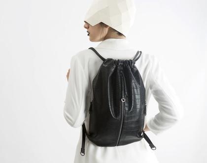 תיק גב שחור לנשים, תיק ייחודי מדמוי עור איכותי, תיק ללא עור, צמחוני, טבעוני בעבודת יד | תיקים - FruitenVeg