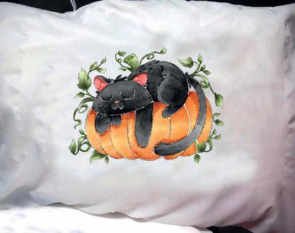 הדפסה על ציפית לכרית - דגם חתול על דלעת