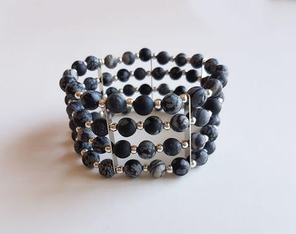 צמיד מאבני אגת שחורות | צמיד אבני חן | צמיד שחור