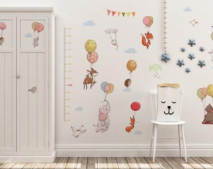 סייל! מדבקות קיר חיות ומד גובה | מדבקות קיר לחדר ילדים | מדבקות לחדר בנים | מדבקות לחדר בנות | מדבקות קיר חיות | עיצוב חדר ילדים