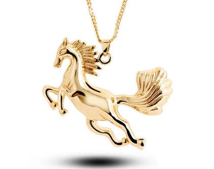 שרשרת לאישה עם תליון סוס | שרשרת מיוחדת | סוס | שרשרת גולדפילד |