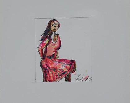 אישה עם שמלה ורודה - רישום מקורי בעט וצבעי טוש