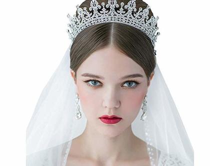 כתר הנסיכה במיוחד לכלות משובץ זרקונים מהמם ביופיו איכות מעולה שהי צבעים לבחירה