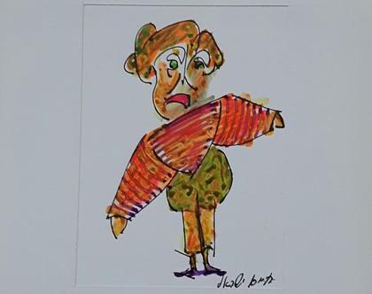 גברת ליצנית - רישום מקורי בעט וצבעי טוש