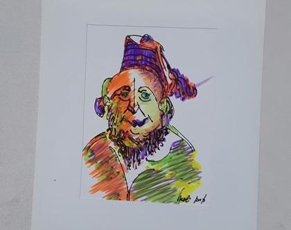 גבר דתי עם תרבוש - רישום מקורי בעט וצבעי טוש