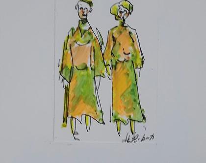 צמד נשים בשמלות ארוכות - רישום מקורי בעט וצבעי טוש