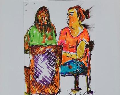 שתי נשים בבית קפה - רישום מקורי בעט וצבעי טוש
