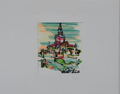 נוף - רישום מקורי בעט וצבעי טוש