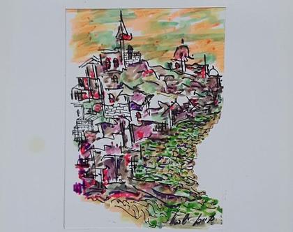 נוף הררי ירושלמי 2- רישום מקורי בעט וצבעי טוש