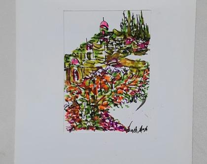נוף הררי ירושלמי 1 - רישום מקורי בעט וצבעי טוש