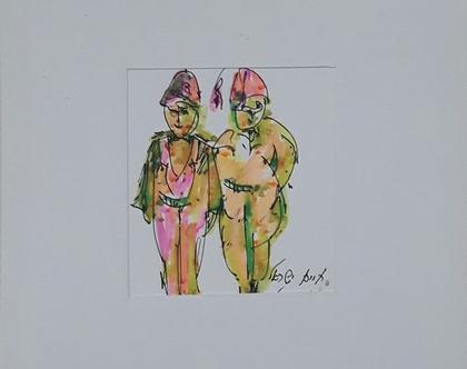 זוג אנשי הג''א - רישום מקורי בעט וצבעי טוש
