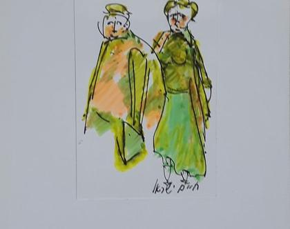 זוג בצהוב-ירוק - רישום מקורי בעט וצבעי טוש