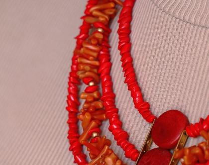 סט שרשרת עגילים מאלמוגים אדומים וגולדפילד