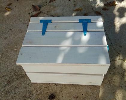 ארגז אחסון עץ רטרו קופסא ארון לאחסנה עבודת יד לאחסון ספסל קטן שרפרף עץ
