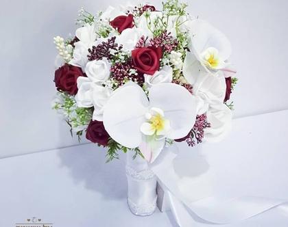 זר כלה משי ורדים וסחלב אדום לבן