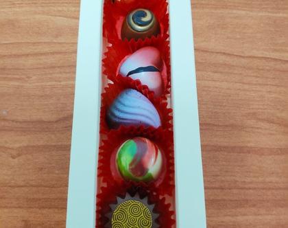 מארז 6 פרליני שוקולד בלגי בעבודת יד