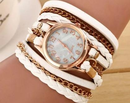 שעון צמיד | שעון יד מתלפף | שעון לאישה | שעון קלאסי | שעון לבן