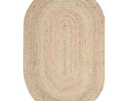 """שטיח חבל טבעי בעבודת יד - אובלי- 125/65 ס""""מ"""