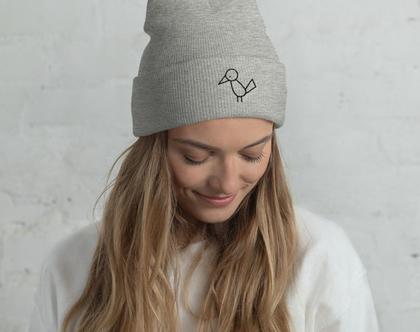 כובע גרב אפור | כובע גרב מולי רקום | כובעי גרב יוניסקס | כובע צמר לגבר | כובעי צמר נשים