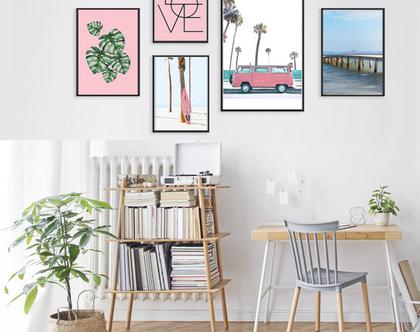 קולאג אקלקטי לחדר של ילדה | סט הדפסים לחדר של מתבגרת | סט תמונות לחדר של ילדה | תמונות בצבע ורוד | תמונות מיוחדות לחדר בנות