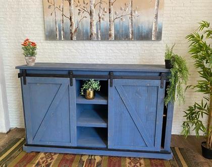 שידה מקסקנית כחולה דלתות הזזה