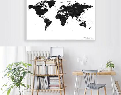 מפת העולם שחור לבן | מפת העולם בעיצוב מינימליסטי | מפת העולם לעיצוב הבית | מפת העולם לחדר ילדים | תמונה שחור לבן