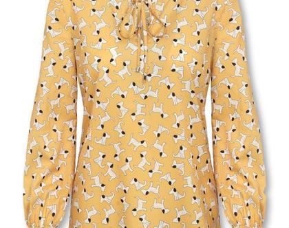 חולצה צהובה עם הדפס כלבלבים ושרוולים ארוכים (נלי)