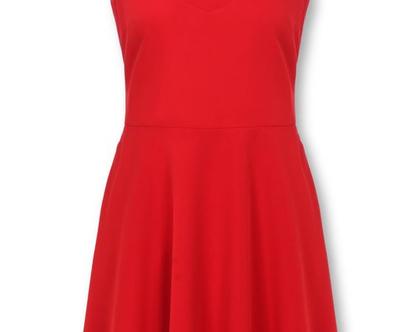 שמלה אדומה ללא שרוולים בגזרת קלוש (קריסטיאן)