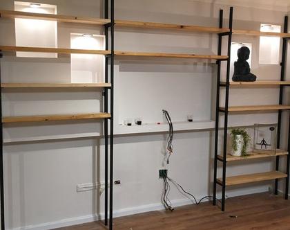 ספריית ברזל מעוצבת שילוב עץ בהתאמה אישית
