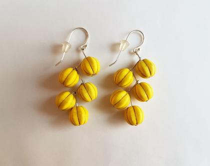 עגילי מפל צהובים | עגילים צהובים | עגילים תלויים | עגילי אבני חן וכסף