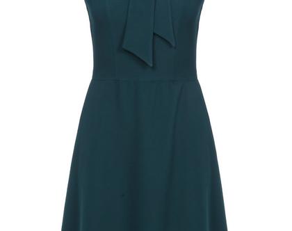 שמלה בצבע ירוק כהה ללא שרוולים (מיי)