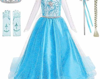 תחפושת מהממת לילדות לכל מטרה נסיכה כולל אבזרים נלווים לגילאים 2-12 שנים