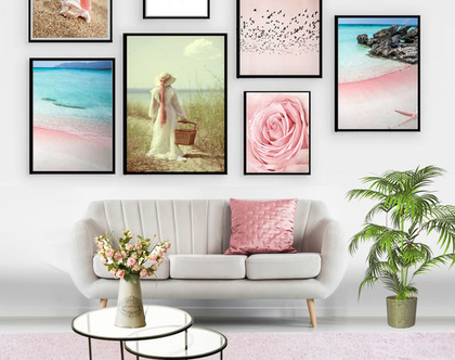 קולאג אקלקטי - Pink beach| סט הדפסים בעיצור מקורי | סט תמונות לעיצוב הבית | תמונות לסלון | תמונות מיוחדות לבית
