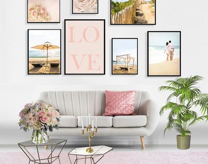 קולאג אקלקטי - Romantic beach | סט הדפסים בעיצור מקורי | סט תמונות לעיצוב הבית | תמונות לסלון | תמונות מיוחדות לבית