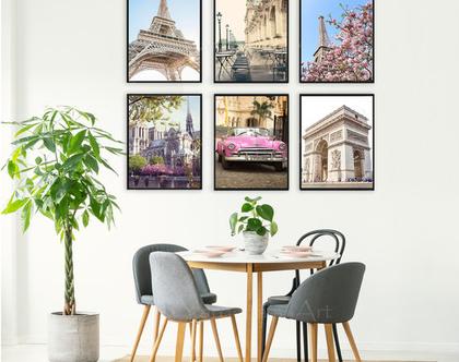 סט תמונות - PARIS | קיר גלריה | סט תמונות של פריז | סט תמונות לעיצוב הבית | הדפסים של פריז | תמונות מיוחדות לבית