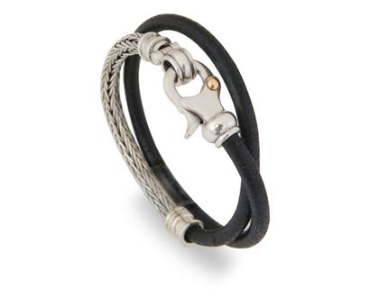 צמיד עור שחור משולב בשרשרת קלועה מכסף , הצמיד עבודת יד , צמיד מעוצב ייחודי , שילוב שרשרת מכסף עבודת יד ועור שחור