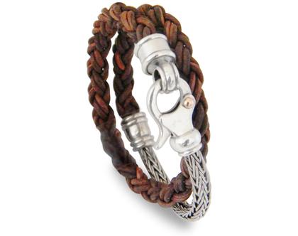 צמיד עור קלוע צבע חום עתיק משולב בשרשרת מכסף קלועה , עבודת יד של המעצב דני קרמר ,עיצוב מיוחד וחדשני ,מתנה לגבר