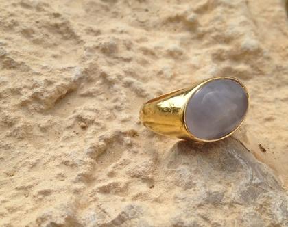 טבעת אוולית רוז קוורץ