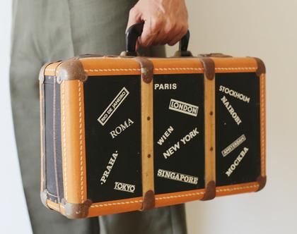 מזוודת וינטג' שטיילה לה בעולם 40% הנחה | מזוודת עץ נדירה רומא פריז לונדון טוקיו ניו יורק משנות ה50'