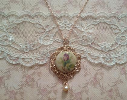 שרשרת עם תליון בסגנון וינטאג׳י,שרשרת פרחים,שרשרת בזהב אדום,שרשרת גולדפילד,שרשרת לאשה ,שרשרת תליון