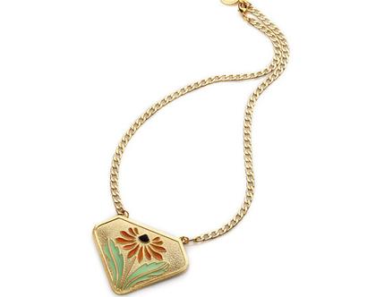 שרשרת דייזי - תליון זהב עם פרח צבעוני - במבצע