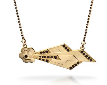שרשרת גלאם -שרשרת זהב עם נקודות שחורות - שרשרת סטייטמנט - שרשרת קריסטלים שחורים - שרשרת רוק - שרשרת תליון גדול - שרשרת לאירוע - בסייל מיוחד